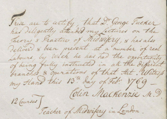 George Tucker, certificate of midwifery